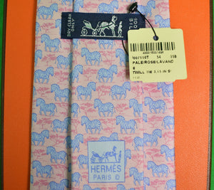 Hermes Paris Blue Zebras on Pink Safari Ground