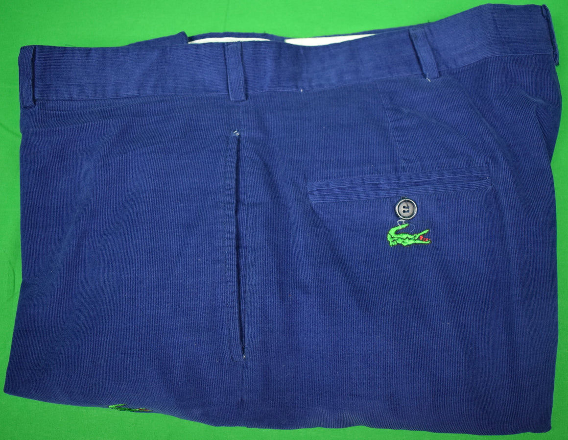 "O'Connell's Pinwale Royal Blue Cords w/ Embroidered Alligators Sz: 40""W"