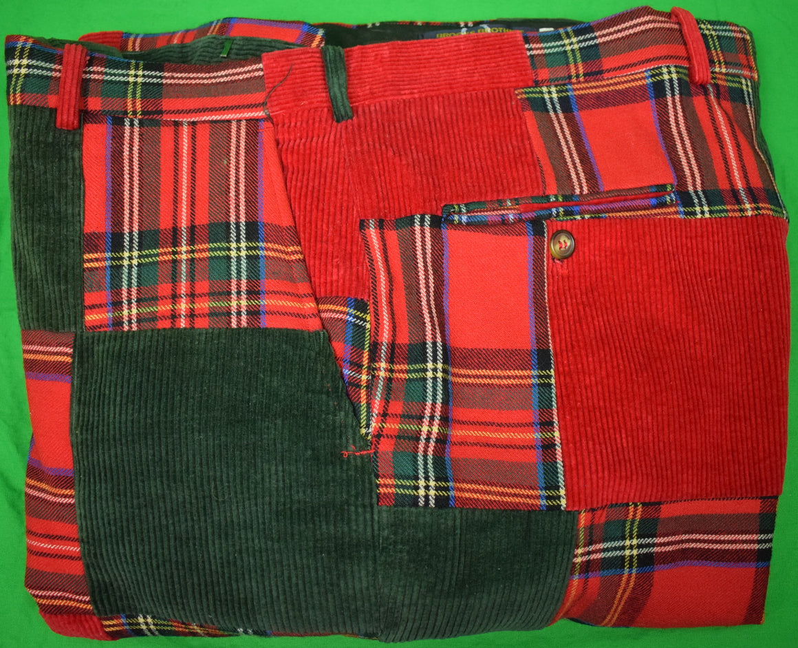 "Brooks Brothers Patch Panel Royal Stewart Tartan/ Red & Dark Green Corduroy Trousers Sz: 41""W"