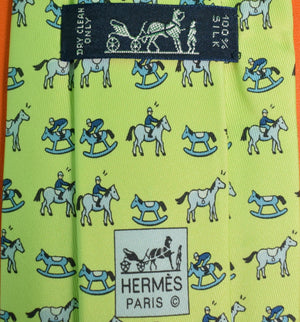 Hermes of Paris 'Jockey on Rocking Horse' Kiwi Green Tie