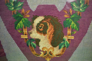 "Victorian 19th Century ""King Charles Spaniel"" Needlepoint Slipper Last Canvas"