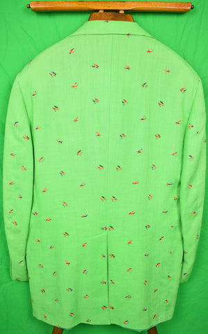 Chipp 'Trout Fly' Embroidered Irish Moygashel Green Linen Blazer