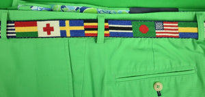 Hand-Needlepoint (16) Country Flags Belt Sz: 35W
