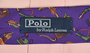 Polo by Ralph Lauren Purple Italian Silk Tie w/ Duck Hunting Motif (New w/ Tag!)
