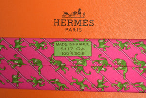 Hermes Paris Green Monkeys on Chartreuse Pink Silk Tie