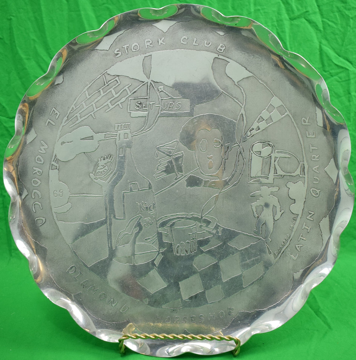 El Morocco/ Stork Club Aluminum Scallop-Edge c.1950 Cocktail Tray