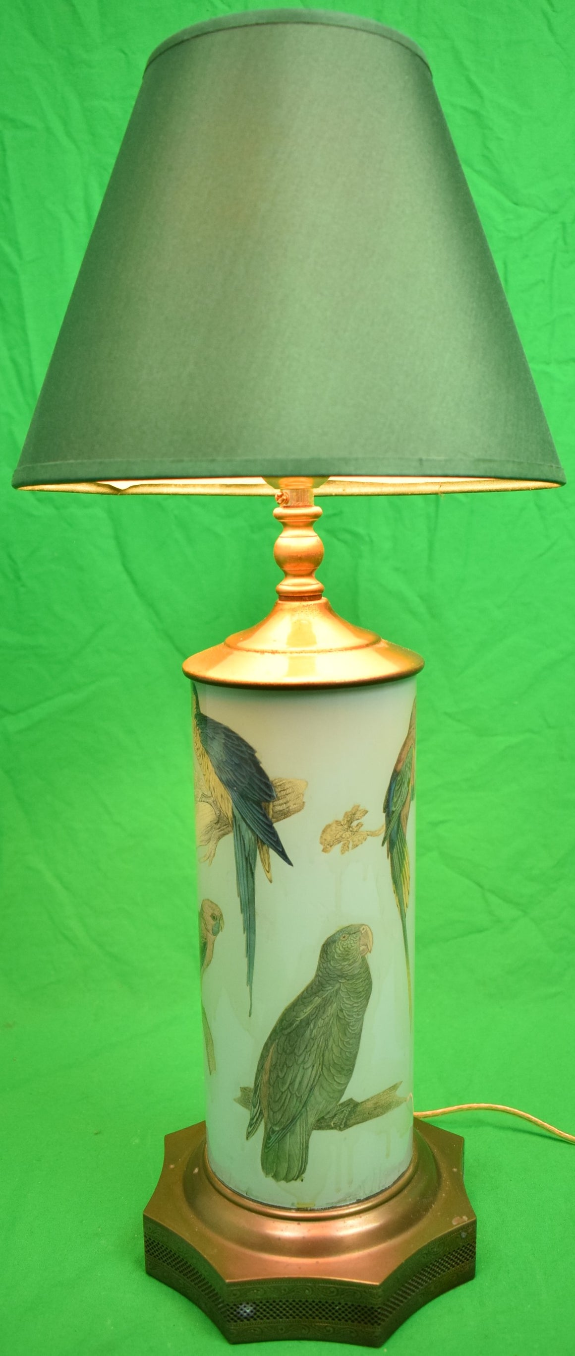 Blue Parrots Decoupage Lamp