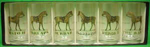 Box Set of 6 Gold-Leaf Horse Racecourse Glasses