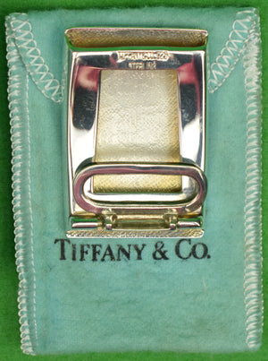 Tiffany & Co Sterling Silver 'MSF' Initials Engine-Turned Slide Belt Buckle (New in Box!)