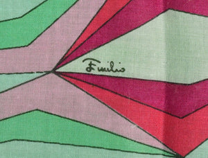 Emilio Pucci Italian Cotton Abstract Pocket Square