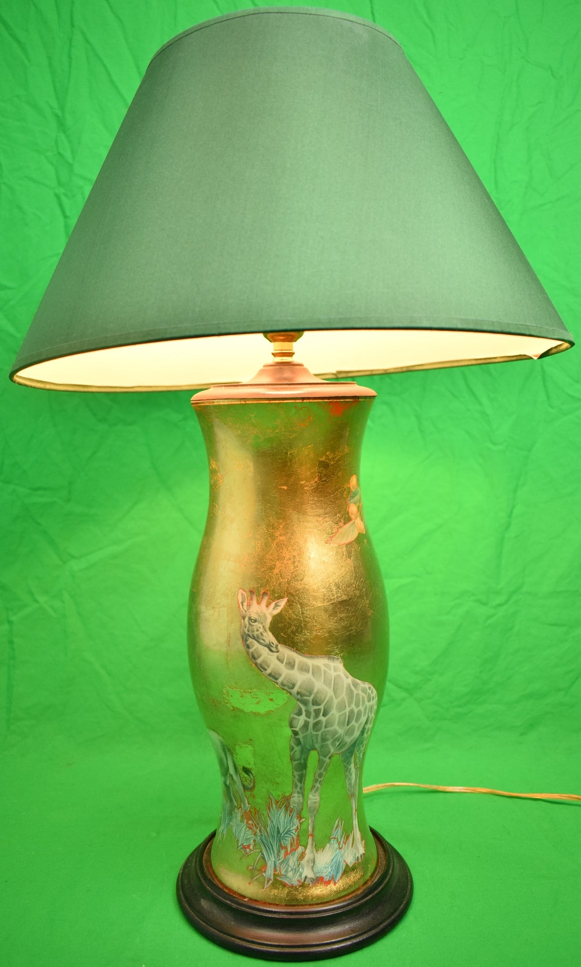 Safari Decoupage Hurricane Gilt Applique Lamp