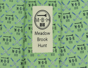 Vineyard Vines for Meadow Brook Hunt Club Seafoam Green Golfing Tie