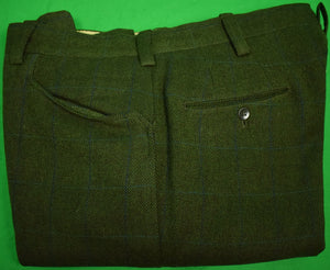 "Chipp c1967 Navy Windowpane on Olive Tweed Trousers Sz 34""W"