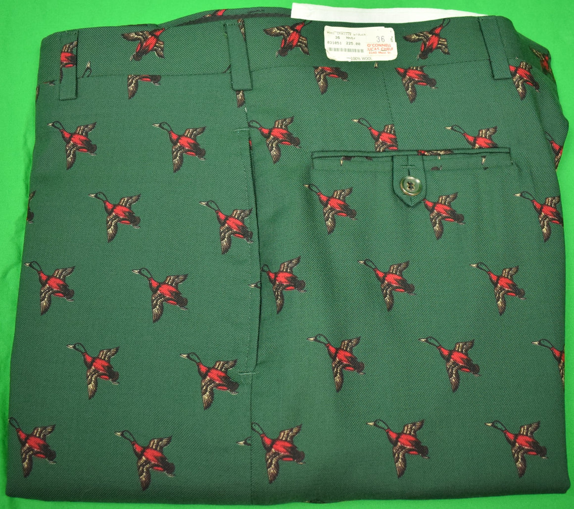 "'O'Connell's Hunter Green Wool Challis-Lined Trousers w/ Emb Ducks' Sz: 36""W New w/ Tag! (SOLD)"