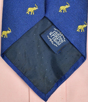 J Press Royal Blue Irish Silk Tie w/ Yellow Elephant Motif (SOLD)