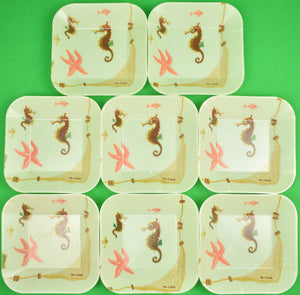 Set of 8 Cape Cod Seahorse Stacking c1960s Fiberglass Dishes (New/ Old Stock!)