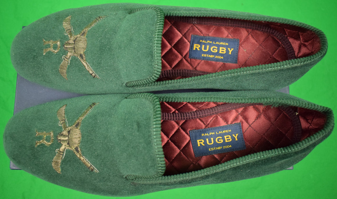 "Rugby Ralph Lauren Green Velvet 'Fox & Rifles' Slippers Sz: 12"" (US)/ 11"" (UK)"