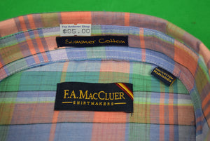 The Andover Shop by F.A. MacCluer India Madras L/S BD Sport Shirt Sz: XL (Deadstock!)