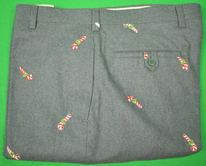 "GT Candy Cane Emb Med Grey Flannel Trousers Sz: 40""W"