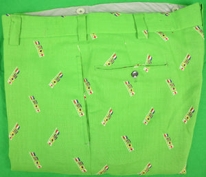 "Chipp Lime Green Moygashel Linen Trousers w/ TGIF Nautical Signal Flags Sz: 38""W"