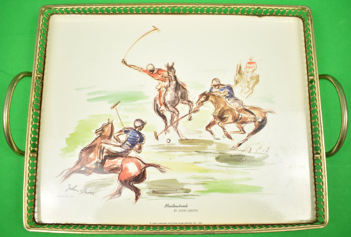 Meadowbrook Polo Match c1953 Cocktail Tray by John Groth