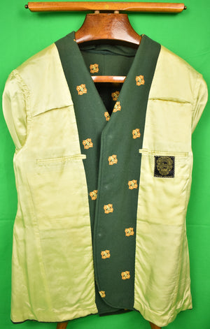 Chipp Hunter Green Embroidered Tennis Racquets Doeskin Flannel Blazer Sz: 44
