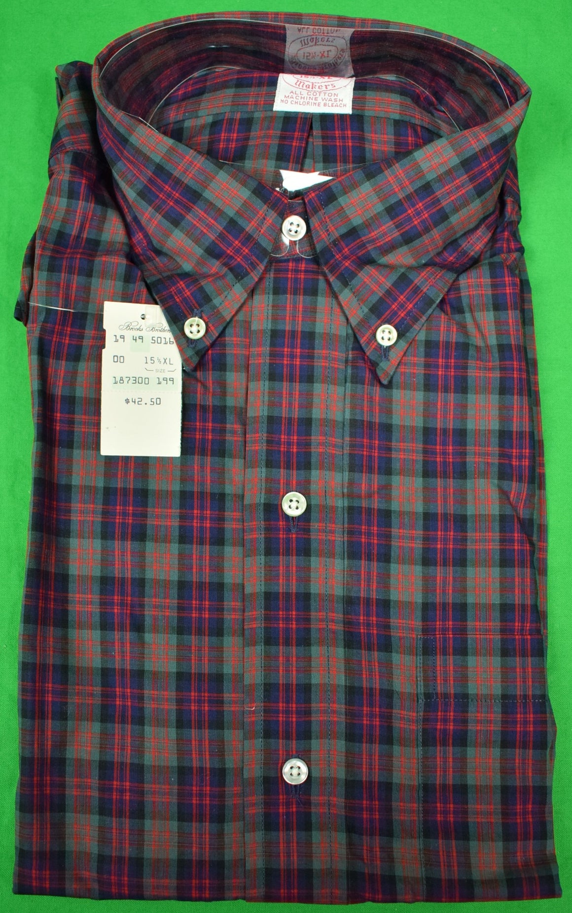 Brooks Brothers Tartan Broadcloth Sport Shirt Sz: 15 1/2- XL New w/ Tag!