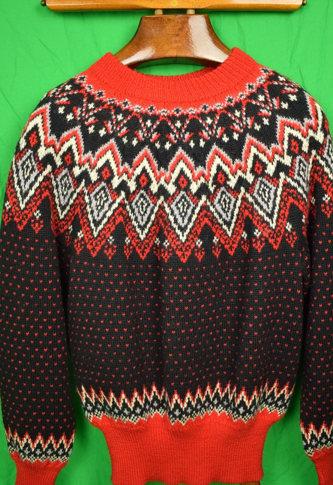 Abercrombie & Fitch Black & Red Danish 'Ski' c60s Sweater