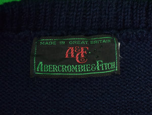 Abercrombie & Fitch Intarsia Navy Crew Neck Fox-Hunter Motif Wool Sweater Sz: LG