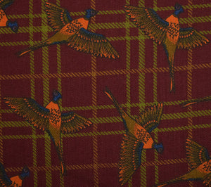 Seaward & Stearn Wool Challis Gold Pheasant Print on Burg Pocket Square