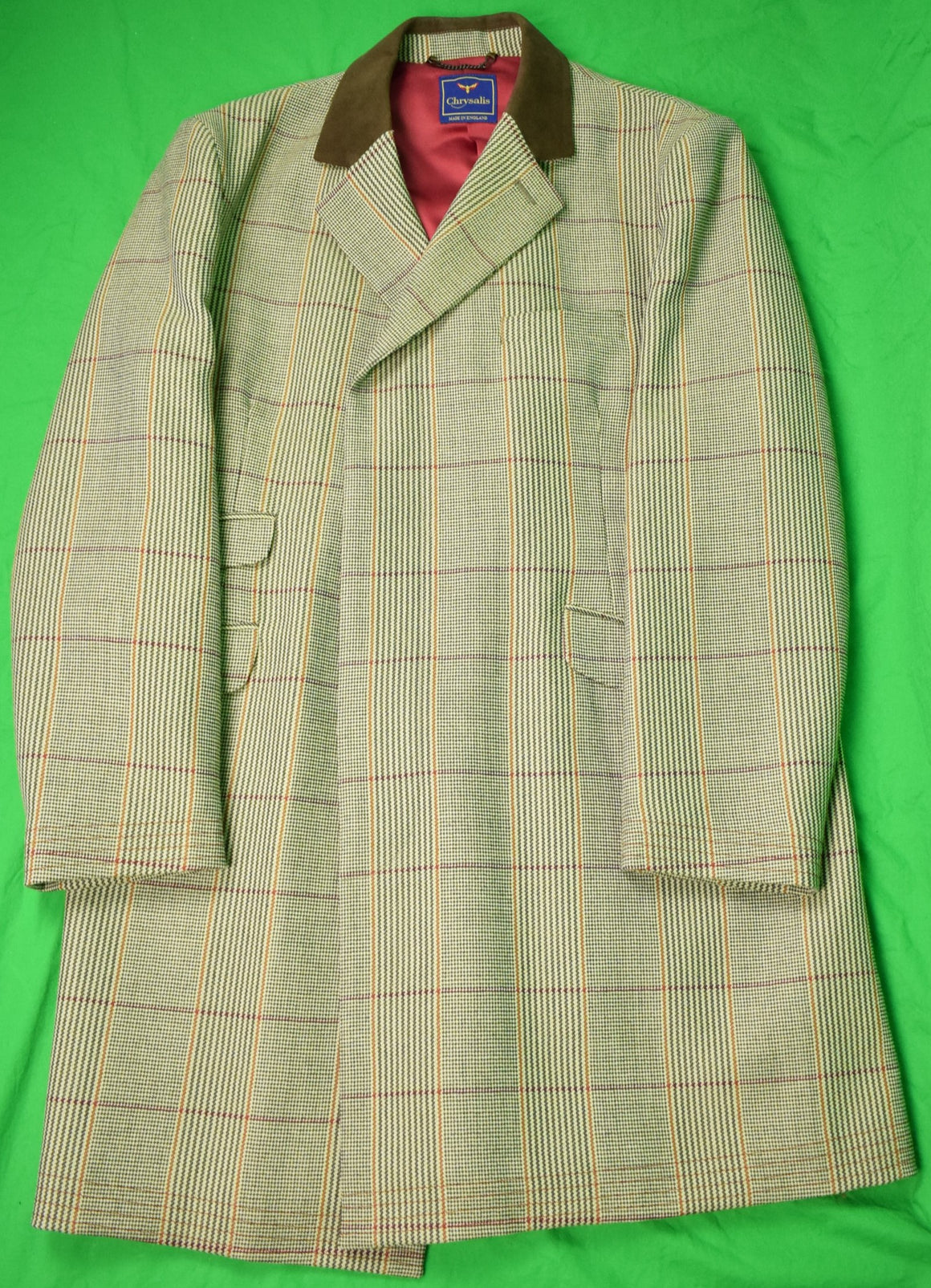 Chrysalis Russell Plaid Paddock Coat for The Andover Shop w Hacking/ Ticket Pockets & Chocolate Suede Collar Sz: 46
