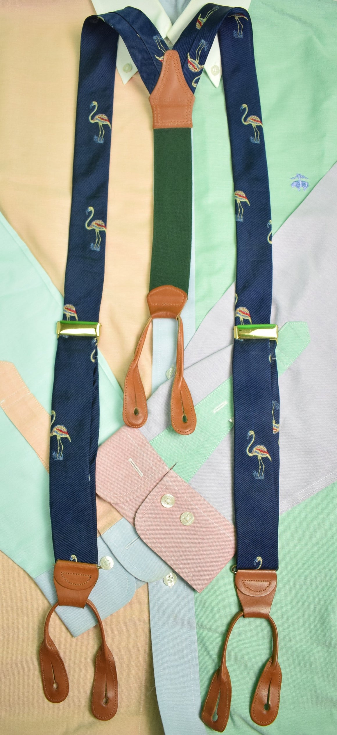 Polo by Ralph Lauren Flamingo Navy Silk Braces