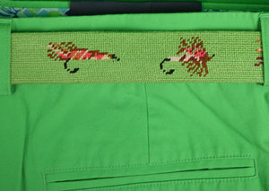 Smathers & Branson Green 13 Trout Fly Hand-Needlepoint Belt Sz: 42