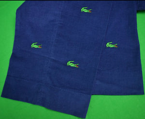 "O'Connell's Pinwale Royal Blue Corduroy w/ Embroidered Alligators Sz: 40""W"
