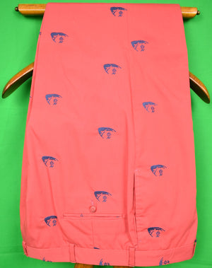 Murray's Toggery Shop Embroidered Nantucket Island Motif Red Trousers Sz 40W