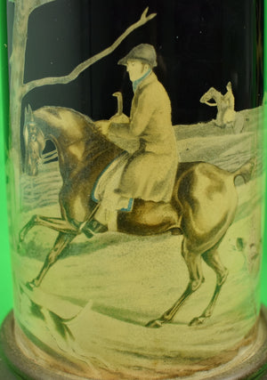 Pair of Decoupage Cylindrical Fox-Hunt Lamps