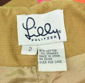 Lilly Pulitzer Patch-Panel/ Embroidered Pinwale Slacks Sz: 2