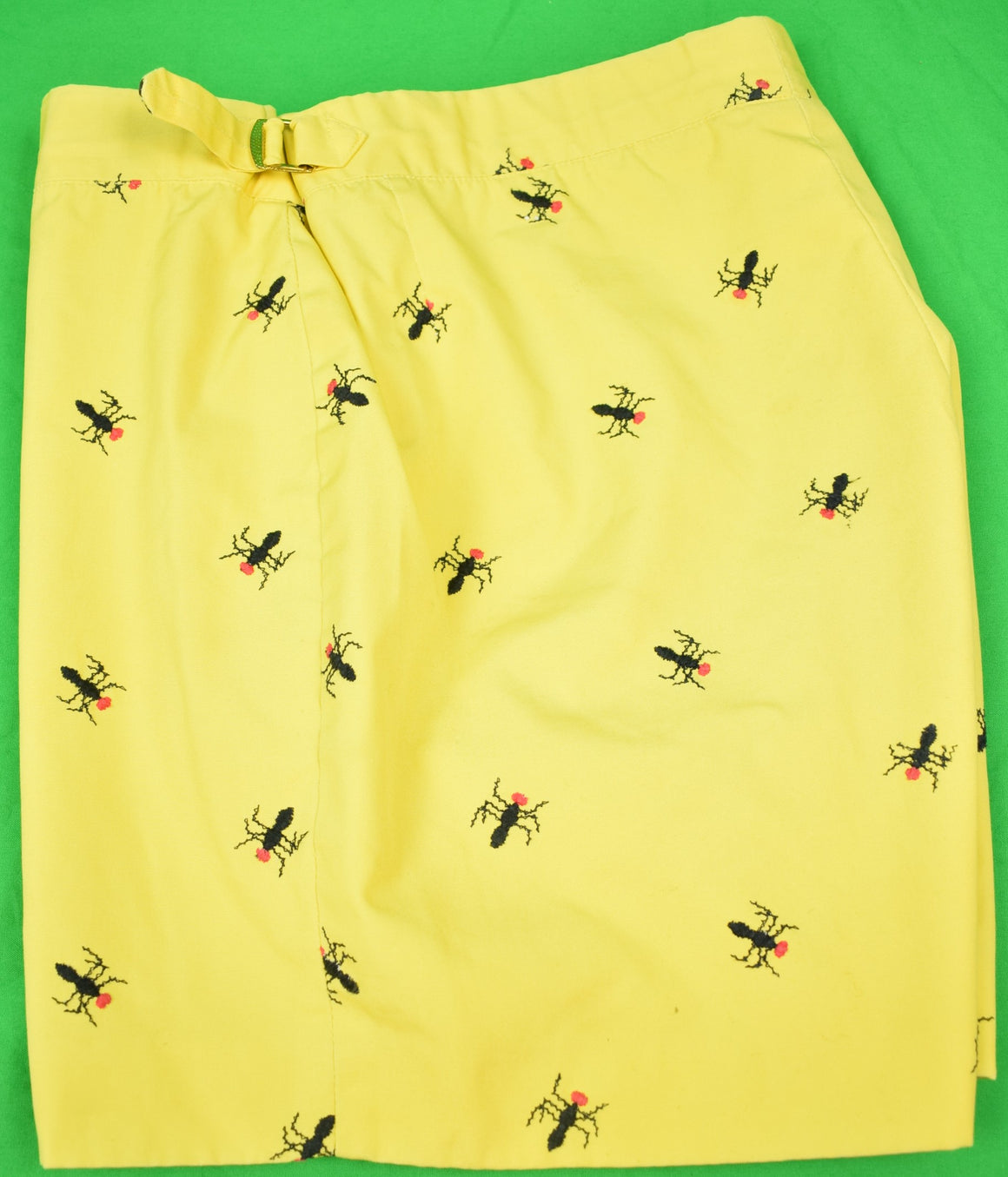 "Chipp Wasp Embroidered Yellow Poplin Swim Trunks Sz: 32""W"