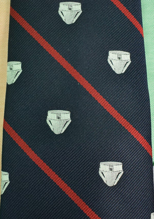Chipp 'Jockstrap' Repp Red Stripe on Navy Silk Tie (Sold!)