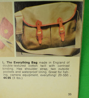 Abercrombie & Fitch English Angling/ Shooting Bag c1975 w/ The Christmas Trail A&F Catalog