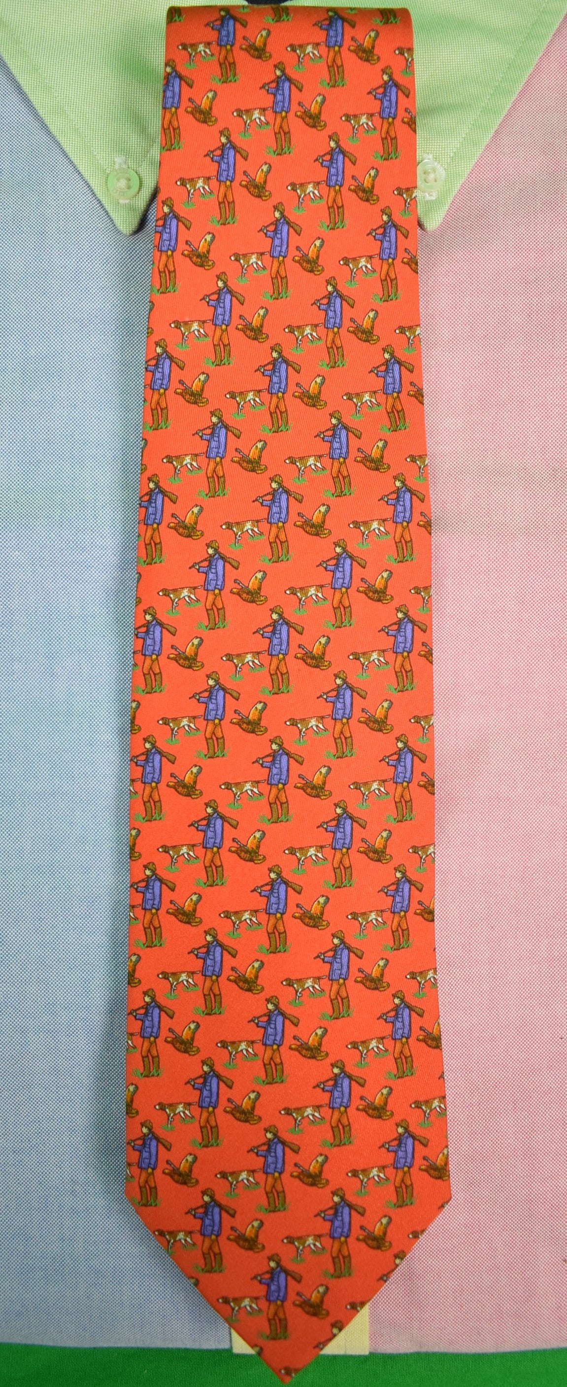 Polo By Ralph Lauren Orange Huntsman/ Game Dog Silk Tie