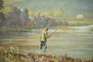 'Two Anglers On A Riverbank' Watercolour & Gouache by Graham Smith (1907-1951)