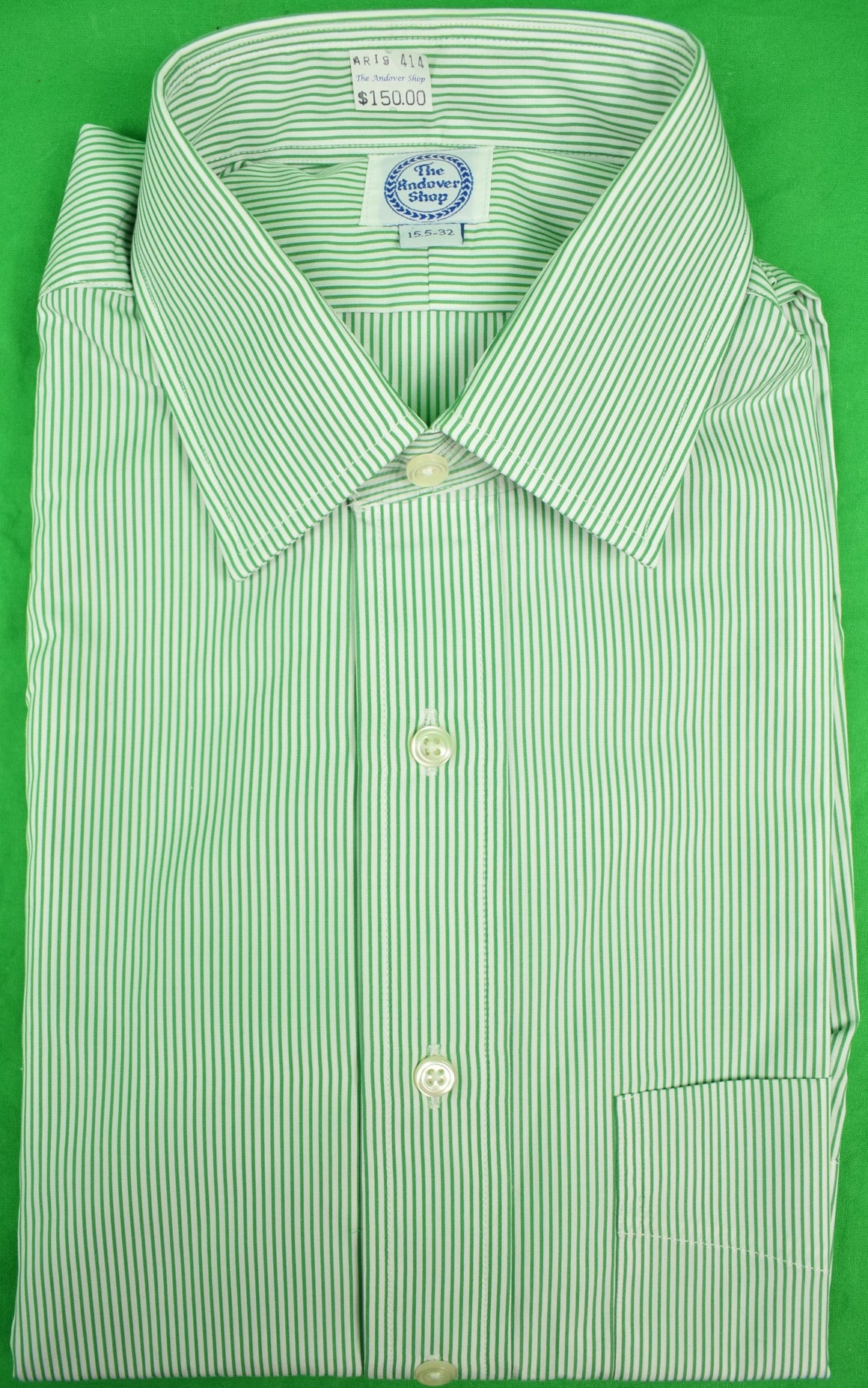 The Andover Shop Green/ White Pinstripe Dress Shirt Sz: 15.5-32 (New w/ Tag!)