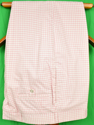 "Chipp Shell Pink Gingham Check Cotton Trousers Sz: 38""W"