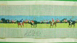 "Needlepoint Canvas Belt w/ Polo Match Scene Sz: 38.5""W"