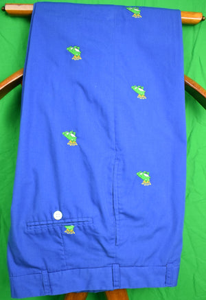 "O'Connell's Royal Blue Poplin w/ Green 'Frog Prince' Trousers Sz: 34""W"