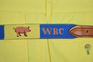 "'WRC' Pink Piglet Hand-Needlepoint Yellow/ Blue Panel Belt Sz: 39""W"