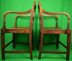 English Regency Saddle Seat Library Armchairs