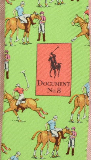 Polo by Ralph Lauren Lime Green Italian Silk Tie w/ Polo Player Motif