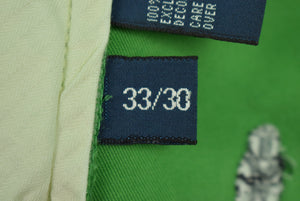 "Polo Ralph Lauren Green Chinos w/ Martini Glass & Shaker Motif Sz: 33""W x 30""L"